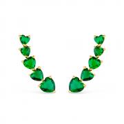 Brinco Earcuff de Pedras Naturais Verdes em formato de Coração Banhado a Ouro 18K