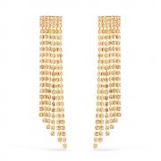 Brinco Luxo com 123 Pedras de Strass Banhado a Ouro 18K