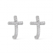 Brinco Religioso em formato de Cruz Cravejado com Zircônia com Banho Branco