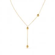 Colar Gravatinha com Bolinhas Douradas Banhado a Ouro 18K