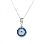 Colar  Medalha Olho Grego com Banho Branco