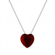 Colar Prata de Coração Pedra Natural Vermelha com Banho Branco