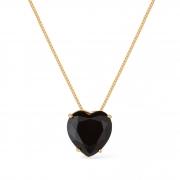 Gargantilha Coração Pedra Natural Banhada a Ouro 18K