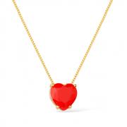 Gargantilha de Coração Pedra Natural Vermelha Banhada a Ouro 18K