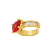 Piercing Fake com Pedra Natural Vermelha e Zircônia Banhado a Ouro 18K