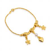 Pulseira de Cordão Baiano com Pérola, Coração e Flores Banhada a Ouro 18K