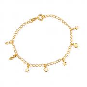 Pulseira Dourada com Pingentes de Coração e Estrela Banhada a Ouro 18K