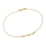 Tornozeleira Dourada com 3 Corações Lisa Banhada a Ouro 18K