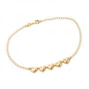 Tornozeleira Dourada de 5 Corações Banhada a Ouro 18K