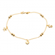 Tornozeleira Dourada Fundo do Mar e Pérolas Douradas Banhada a Ouro 18K