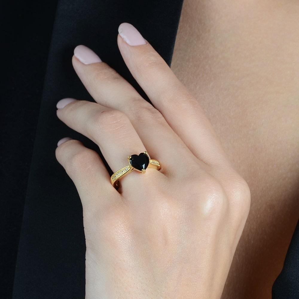 Anel Coração Pedra Color com Detalhes em Zircônias Banhado a Ouro 18K