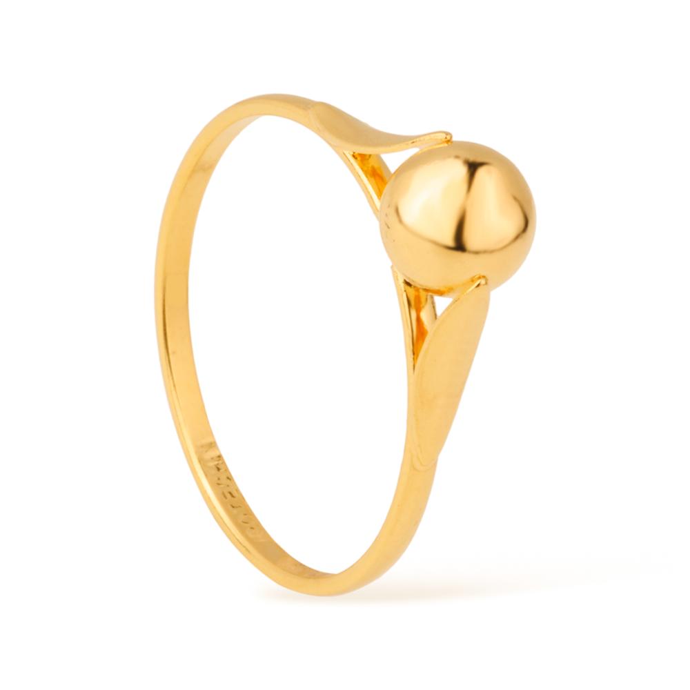 Anel Delicado com Pérola Dourada Banhado a Ouro 18K