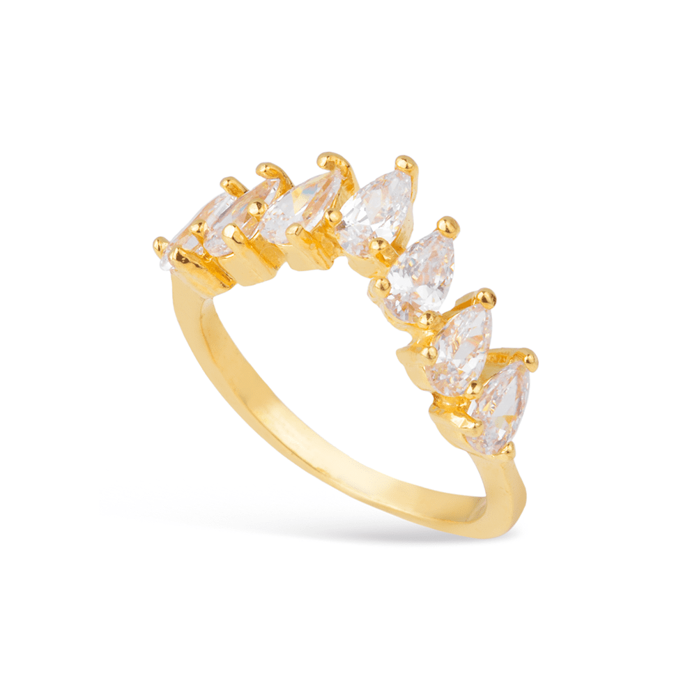 Anel Gotas de Zircônia com Formato Coroa Banhado a Ouro 18K