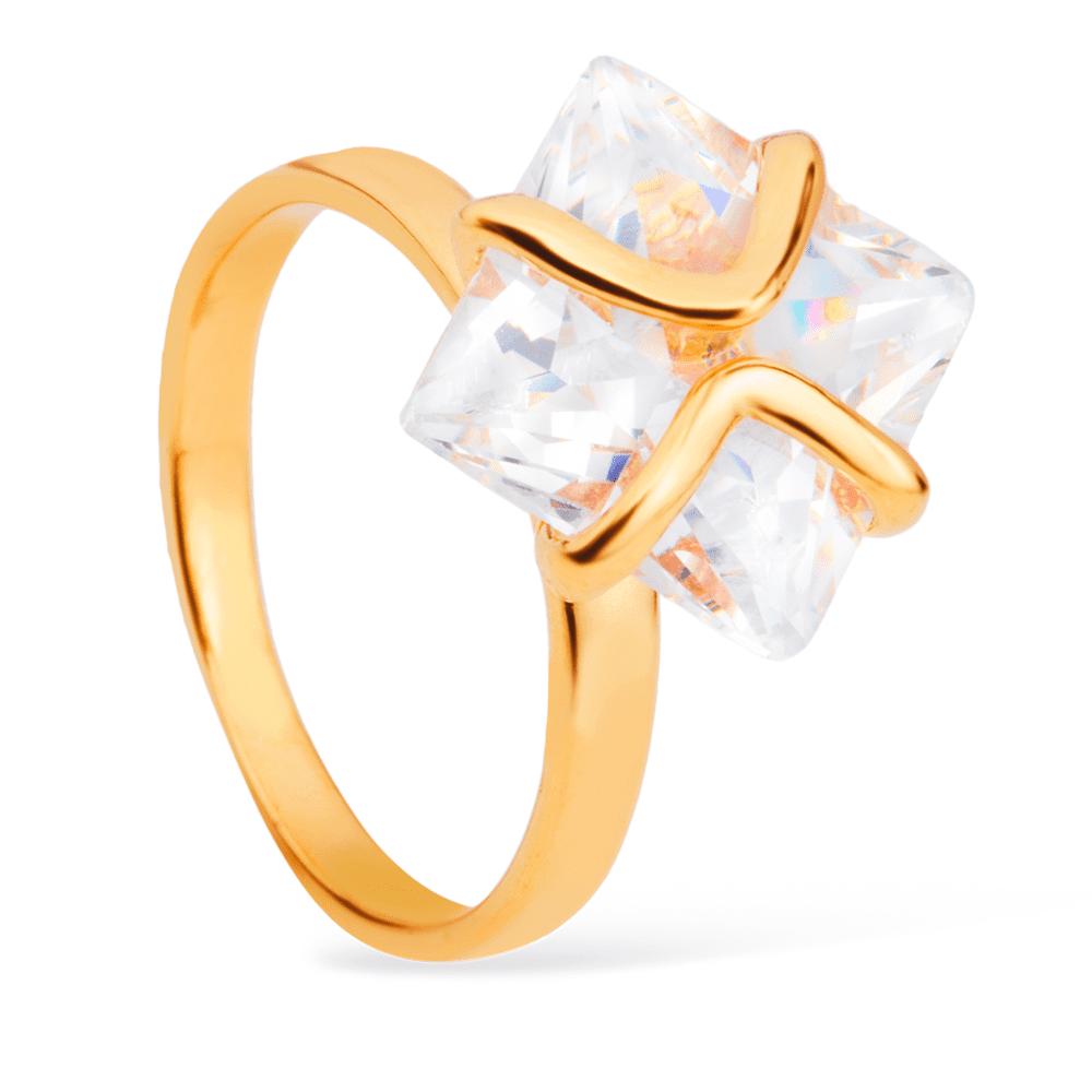 Anel Luxo Pedra Quadrada de Zircônia Banhado a Ouro 18K