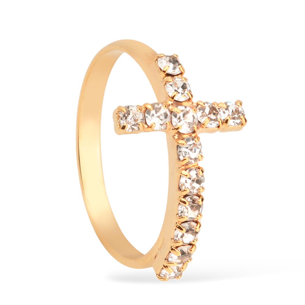 Anel Religioso Cruz Cravejado de Strass Banhado a Ouro 18K