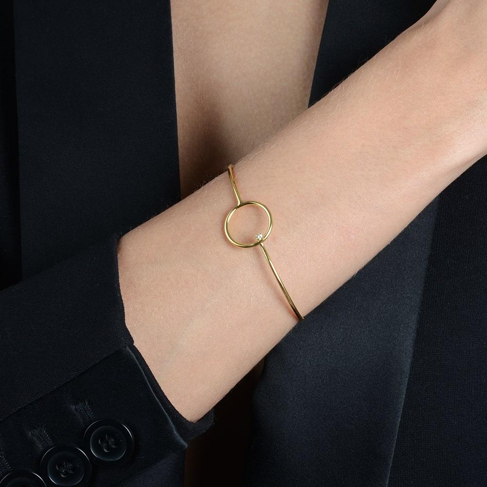 Bracelete de Círculo com Zircônia Banhado a Ouro 18K