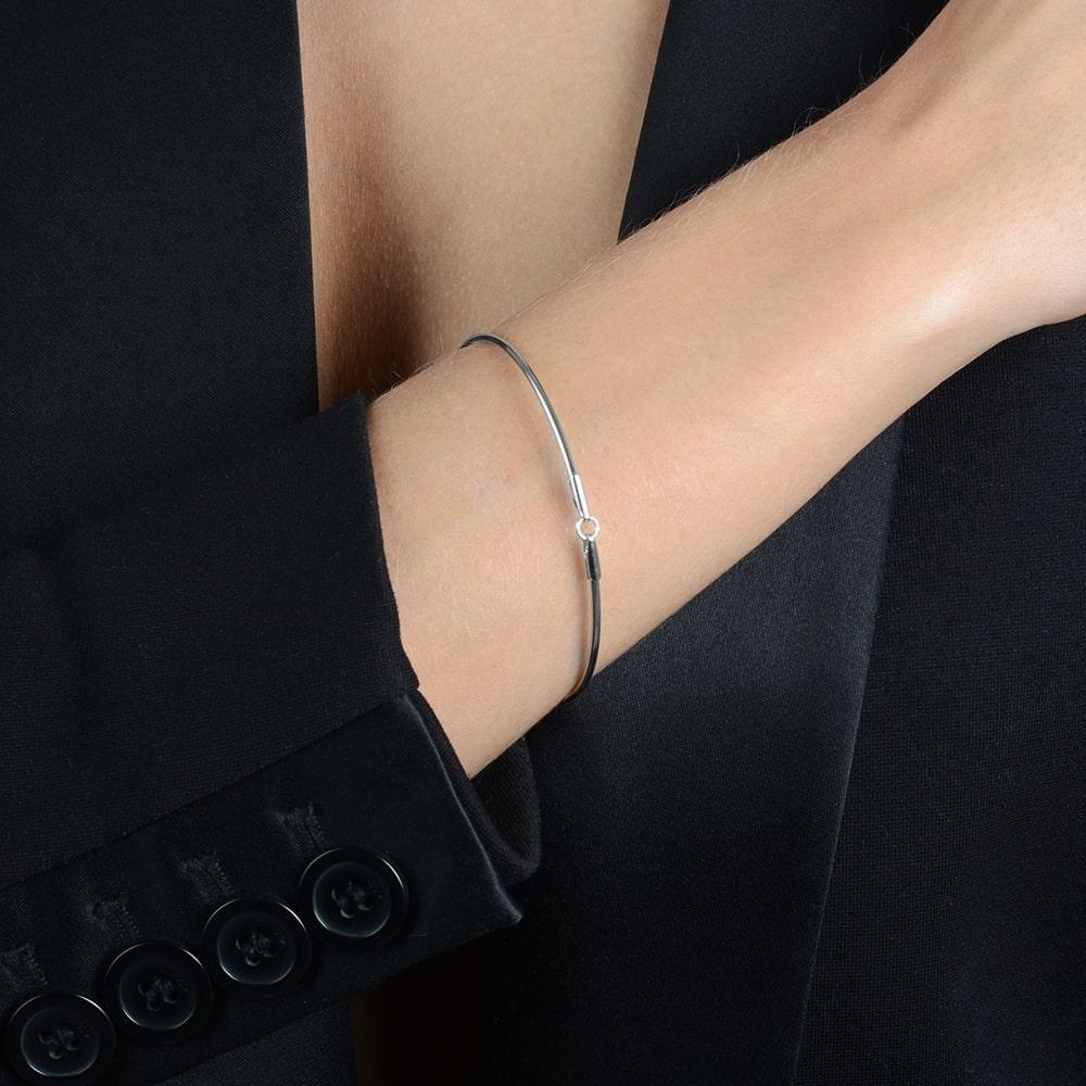 Bracelete Prata de Tubo com Banho Branco