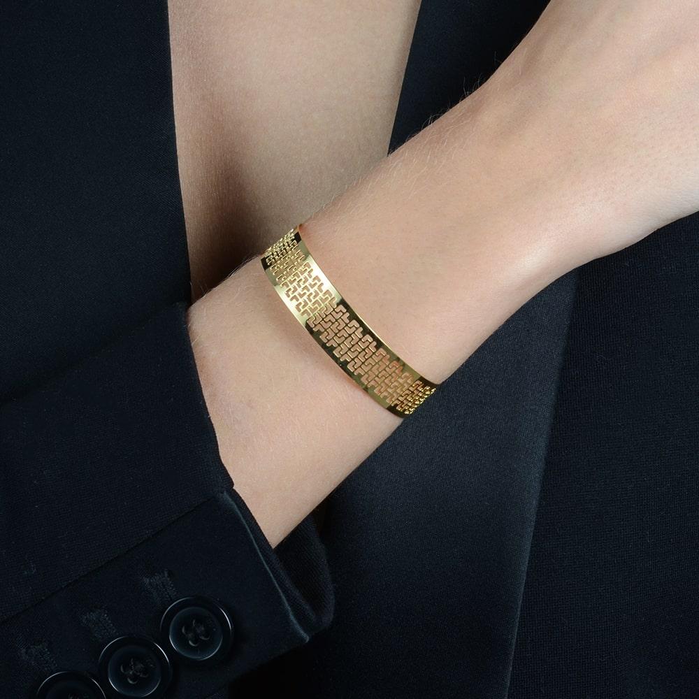Bracelete Renda Vazado Banhado a Ouro18K