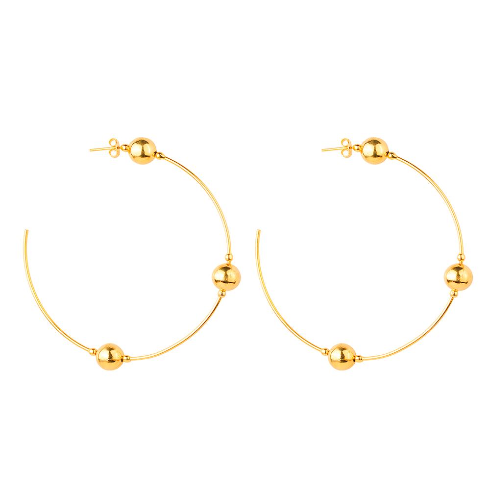 Brinco de Argola Com Pérolas Douradas Banhado a Ouro 18K