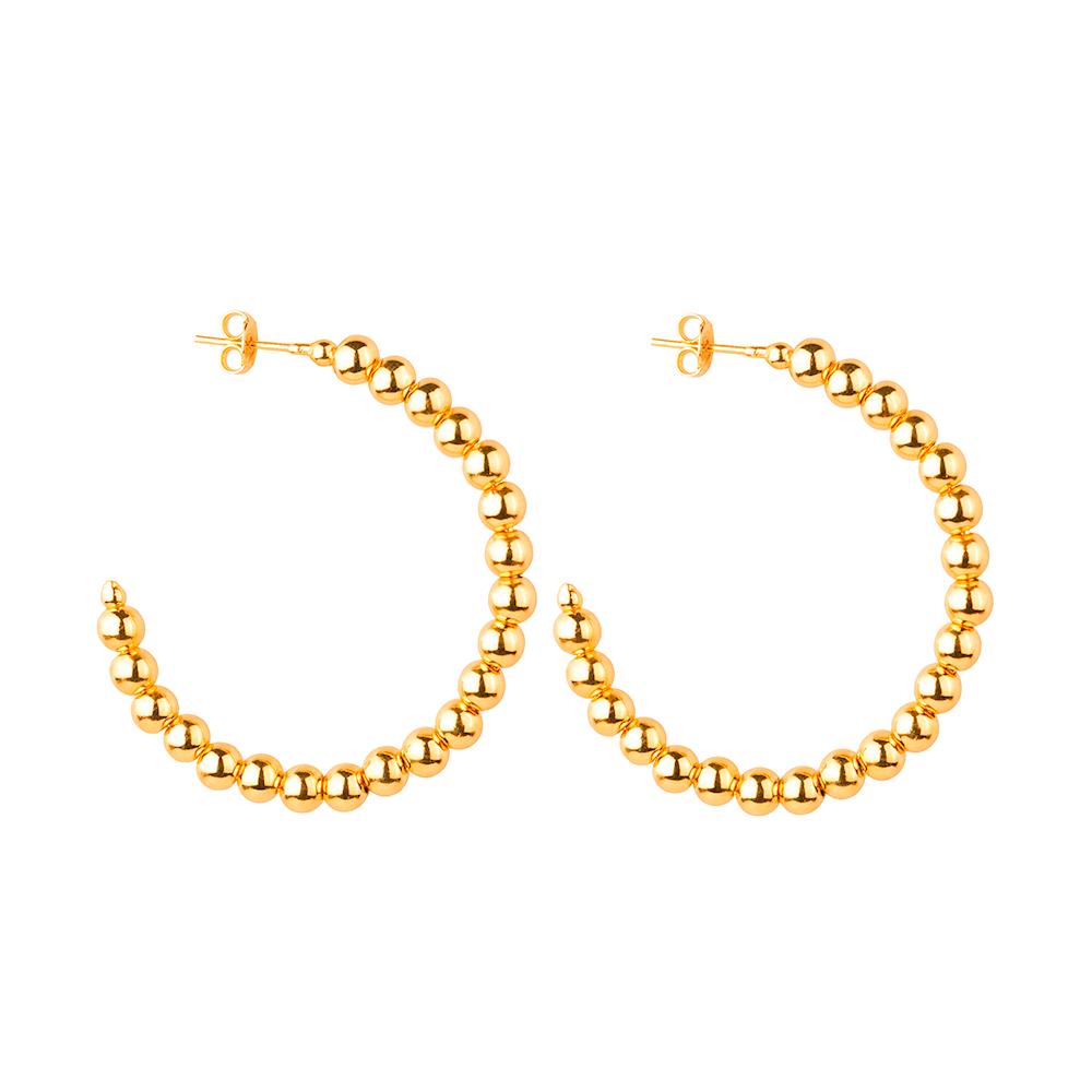 Brinco de Argola Cravejado de Pérolas Douradas Banhado a Ouro 18K