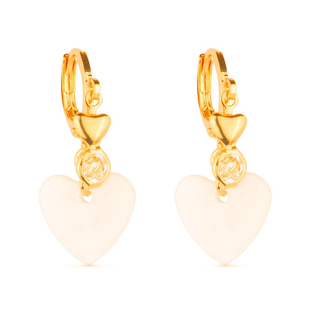 Brinco de Argolinha Dourado Coração Madrepérola e Ponto de Luz Zircônia Banhado a Ouro 18K