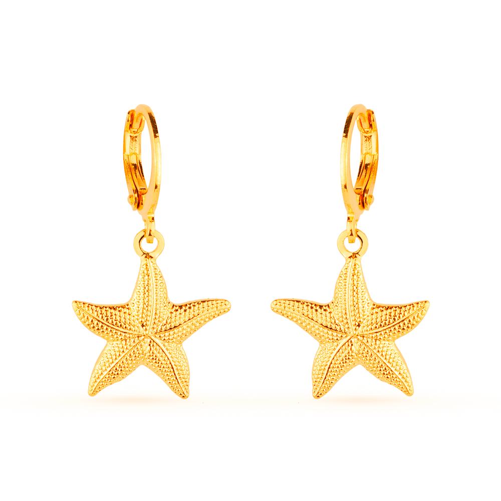 Brinco de Argolinha Dourado Estrela do Mar Banhado a Ouro 18K