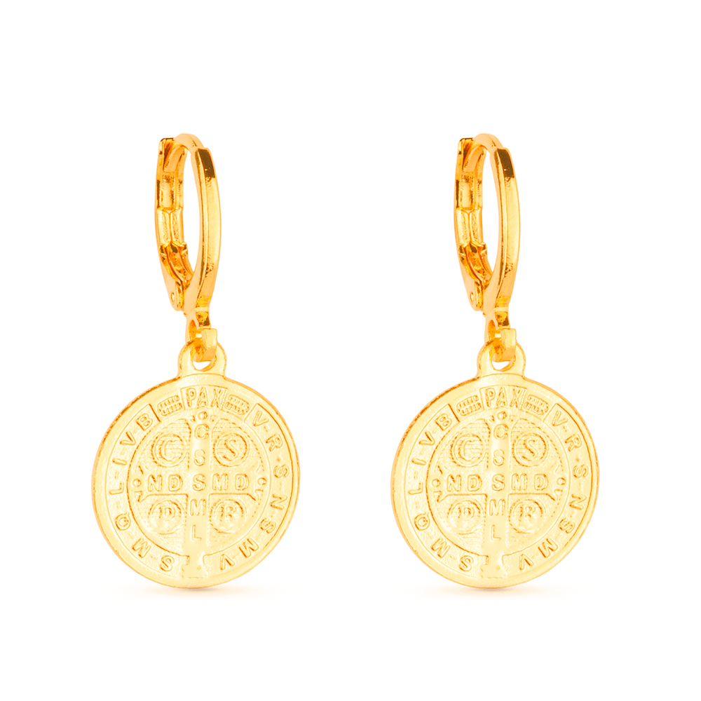Brinco de Argolinha Medalha Religiosa Banhado a Ouro 18k