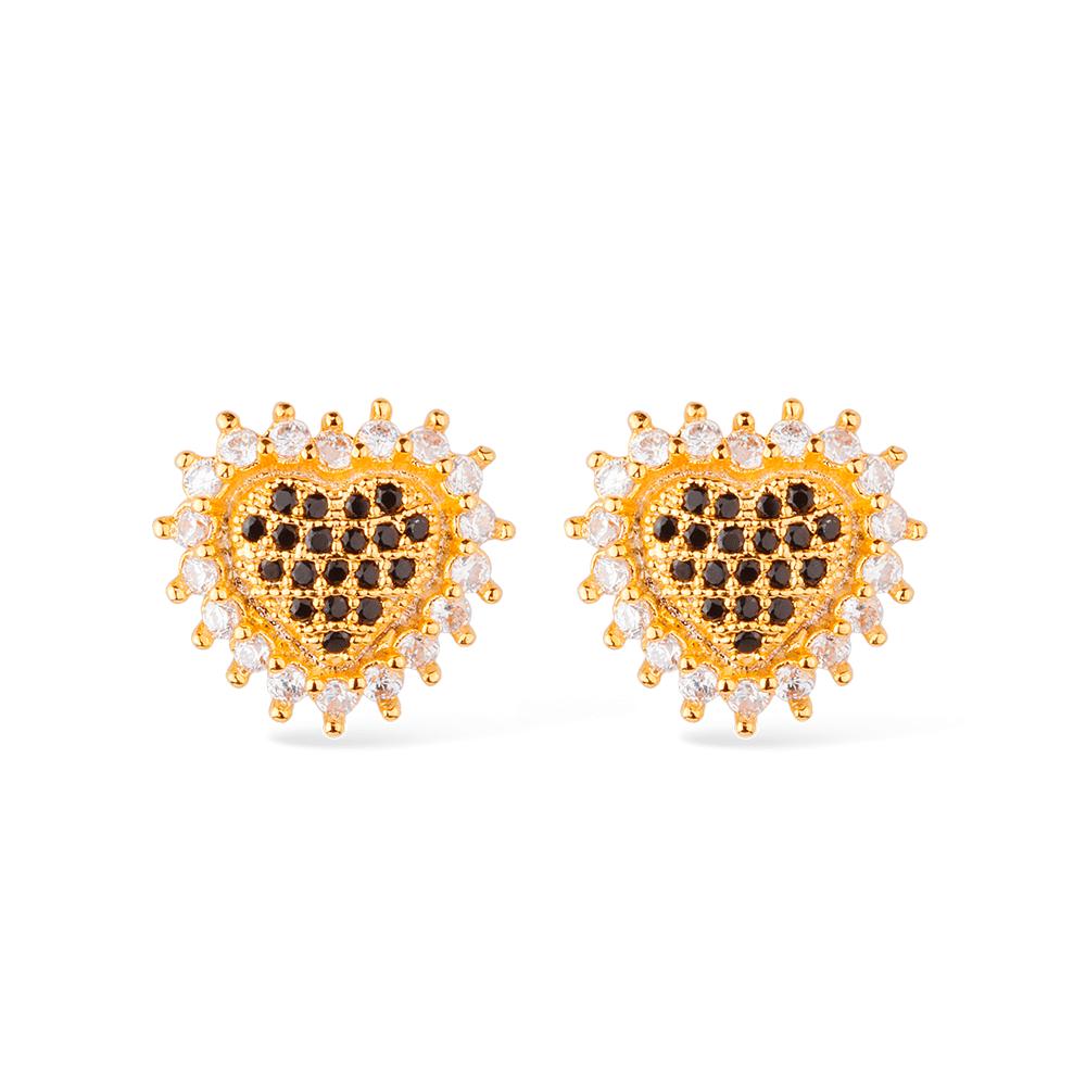 Brinco de Coração Cravejado com Pedras de Zircônia Cristal e Preta Banhado a Ouro 18K
