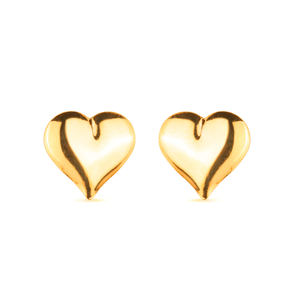 Brinco de Coração Grande Banhado a Ouro 18K