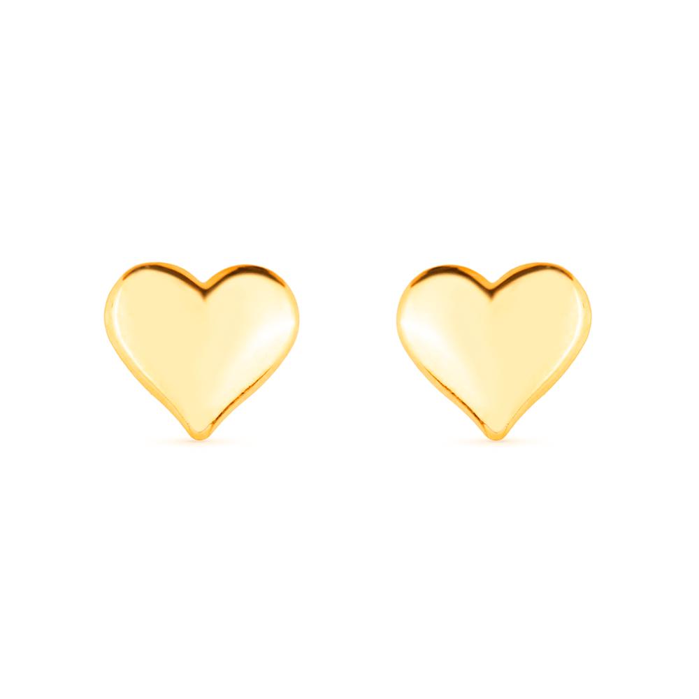 Brinco de Coração Médio Banhado a Ouro 18K