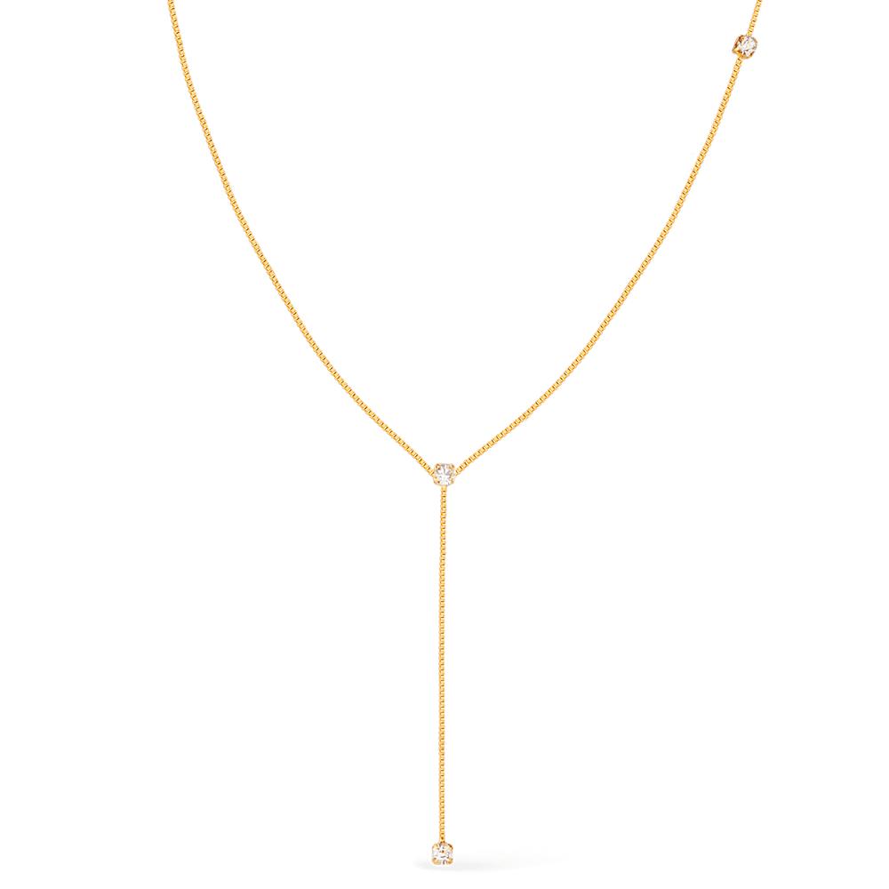 Colar Gravatinha com Pontos de Luz Banhada a Ouro 18K