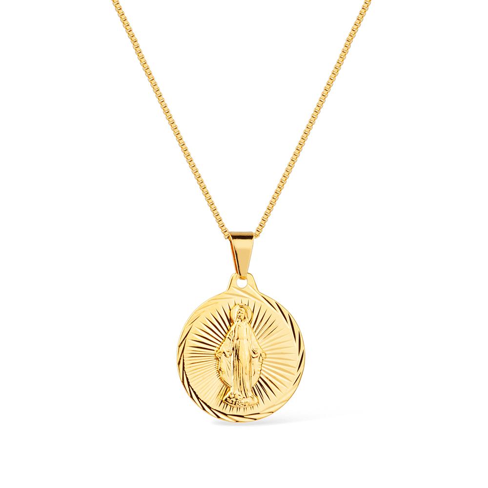 Gargantilha Religiosa Maria Mãe de Jesus Banhada a Ouro 18K