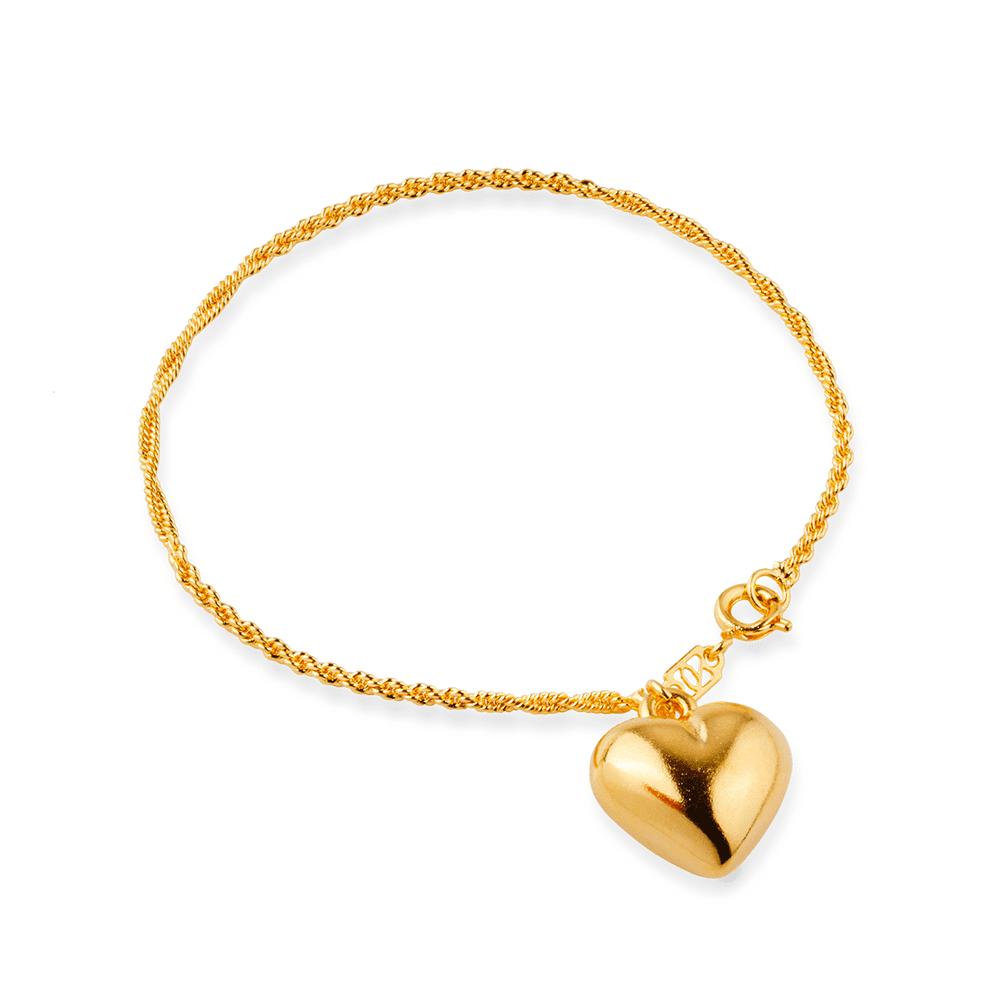 Pulseira Cordão Baiano com Coração Banhada a Ouro 18K