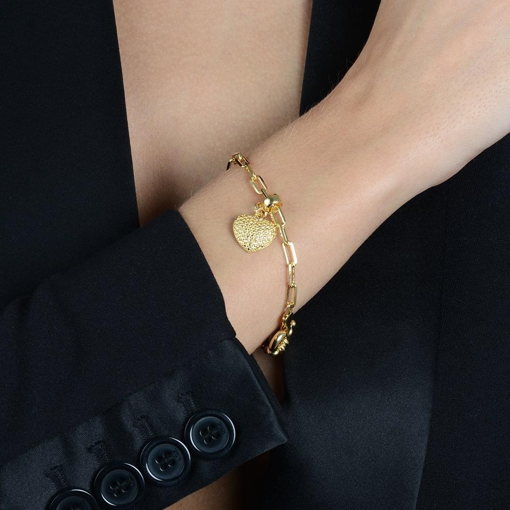 Pulseira Elo Cartier com Coração Banhada a Ouro 18K