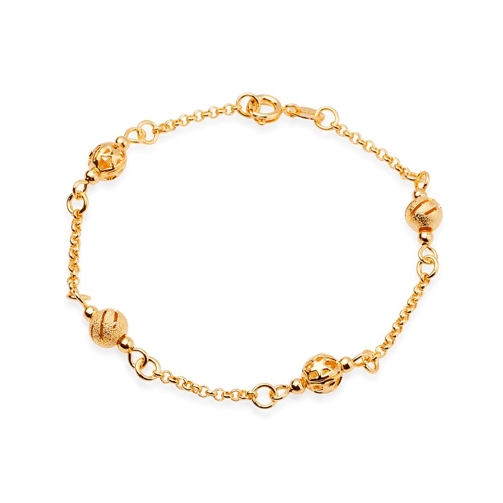 Pulseira Elos com Bolinhas Douradas Banhada em Ouro 18K