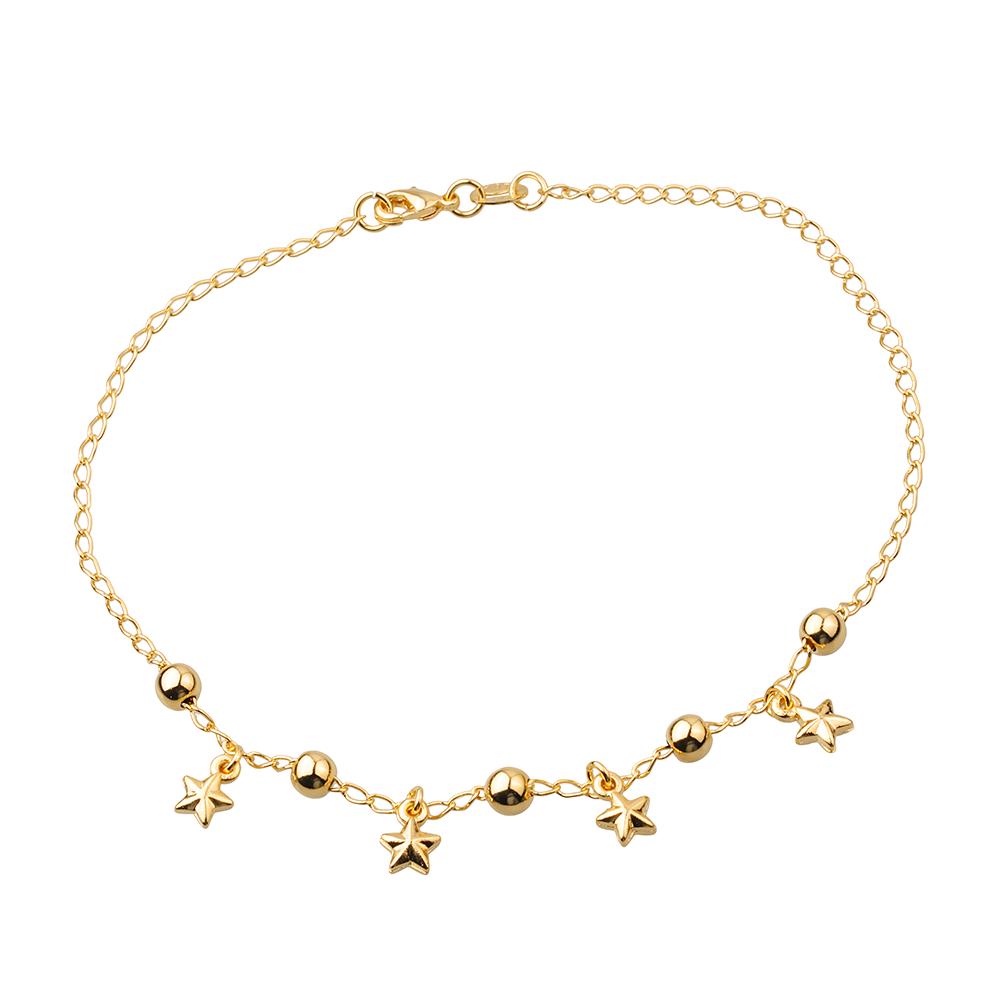 Tornozeleira de Estrelas e Pérolas Douradas Banhadas a Ouro 18K