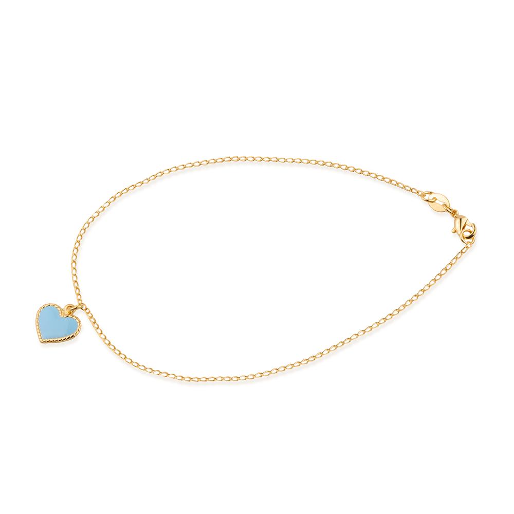 Tornozeleira Dourada De Coração Azul Banhada a Ouro 18K