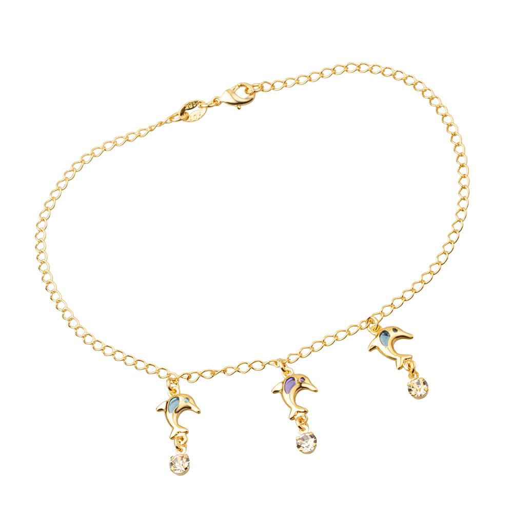 Tornozeleira Dourada Golfinhos Coloridos e Pontos de Luz de Zircônia Banhada a Ouro 18K