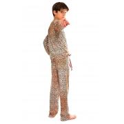 Pijama Longo Thais Gusmão Infanto Juvenil UNISEX Leopardo