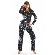 Pijama Longo Thais Gusmão Olho Grego Preto Feminino