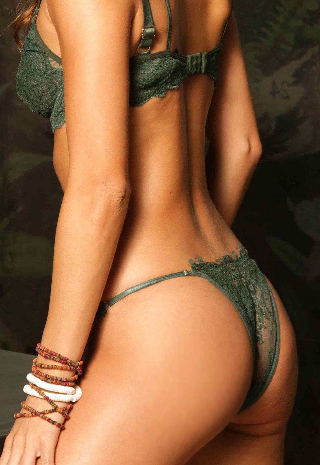 Calcinha Tanga Thais Gusmão Bardot Renda Verde