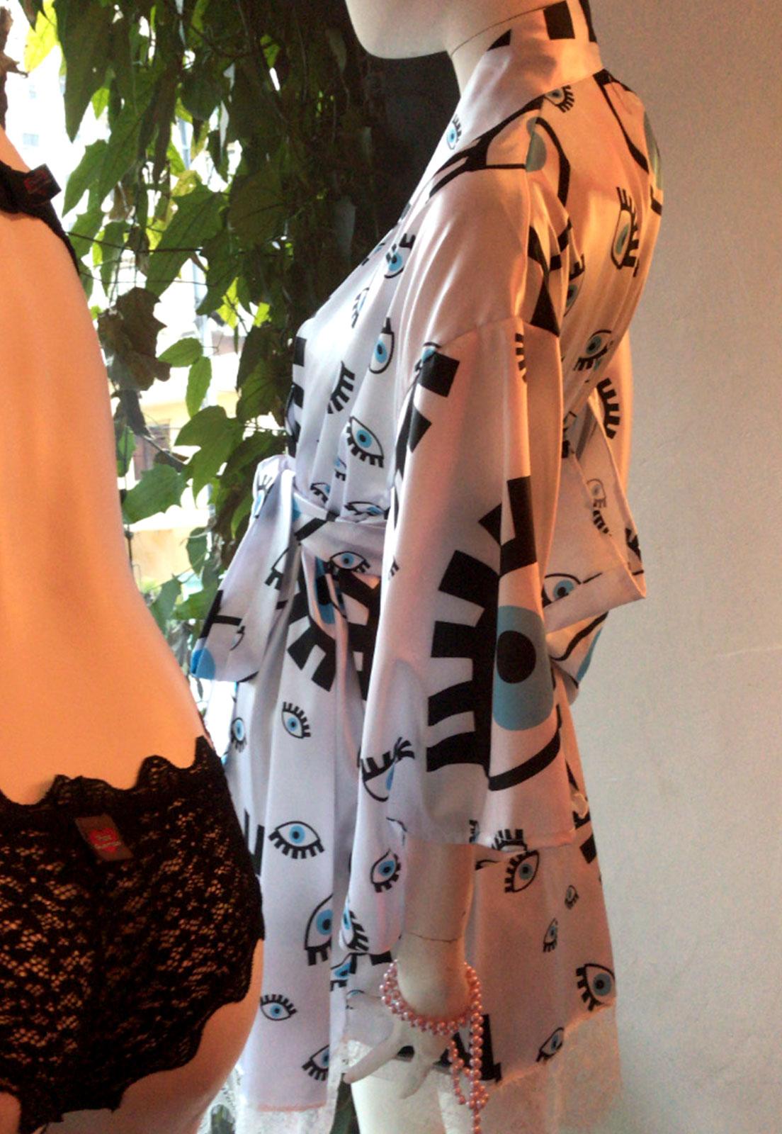 Kimono Curto Thais Gusmão Olho Grego Branco