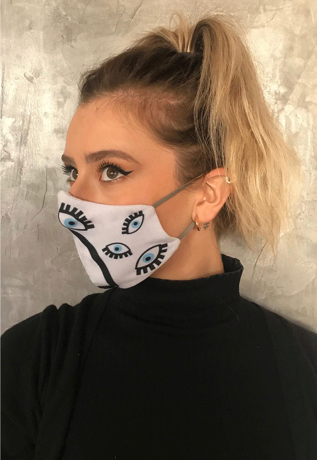 Máscara Dupla camada Maxi olho grego preta