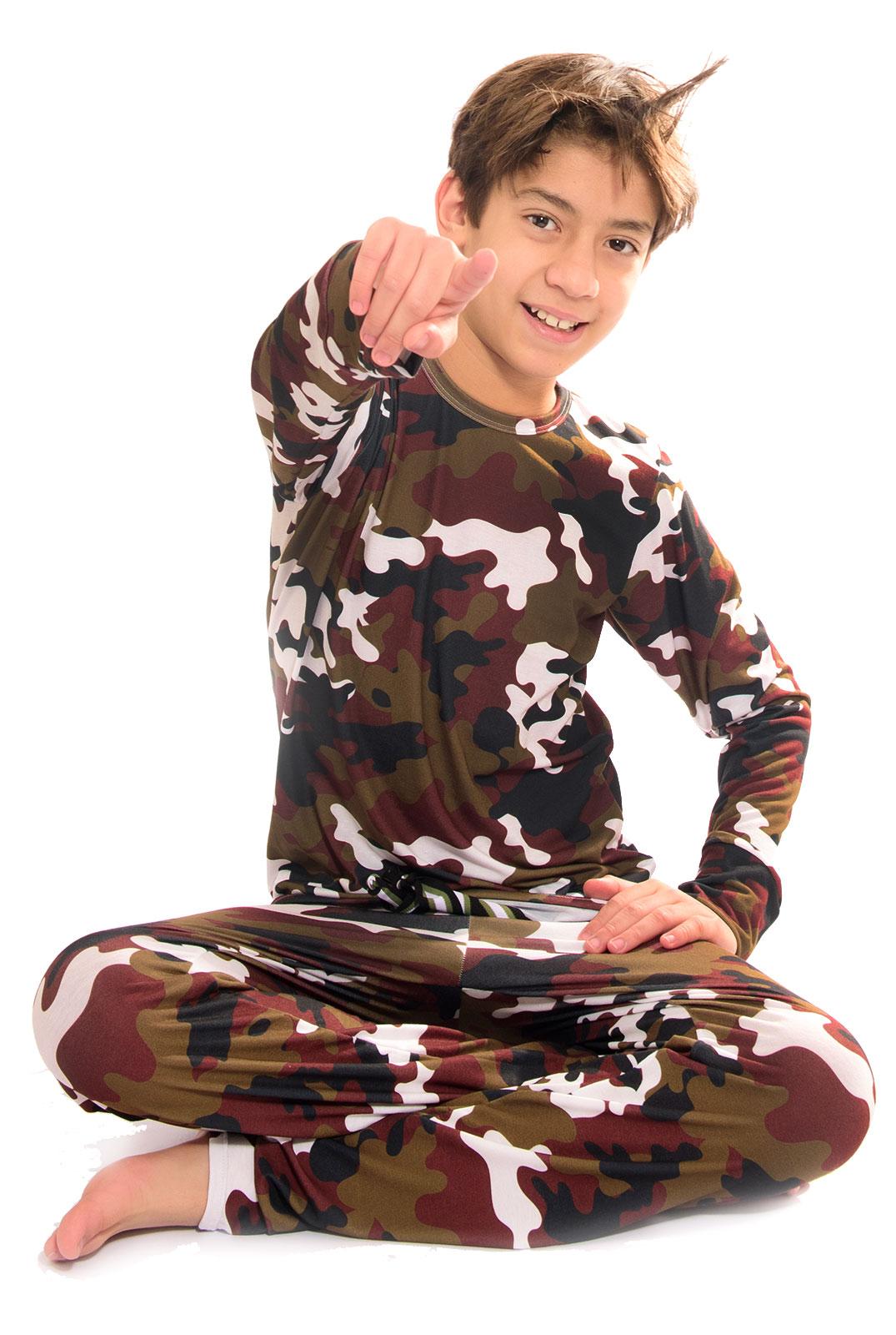 Pijama Longo Thais Gusmão Infanto Juvenil UNISEX Militar Savana