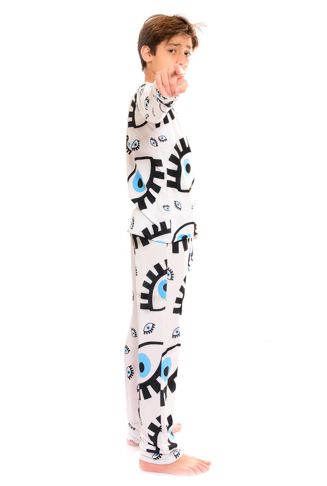 Pijama Longo Thais Gusmão Infanto Juvenil UNISEX Olho Grego Branco