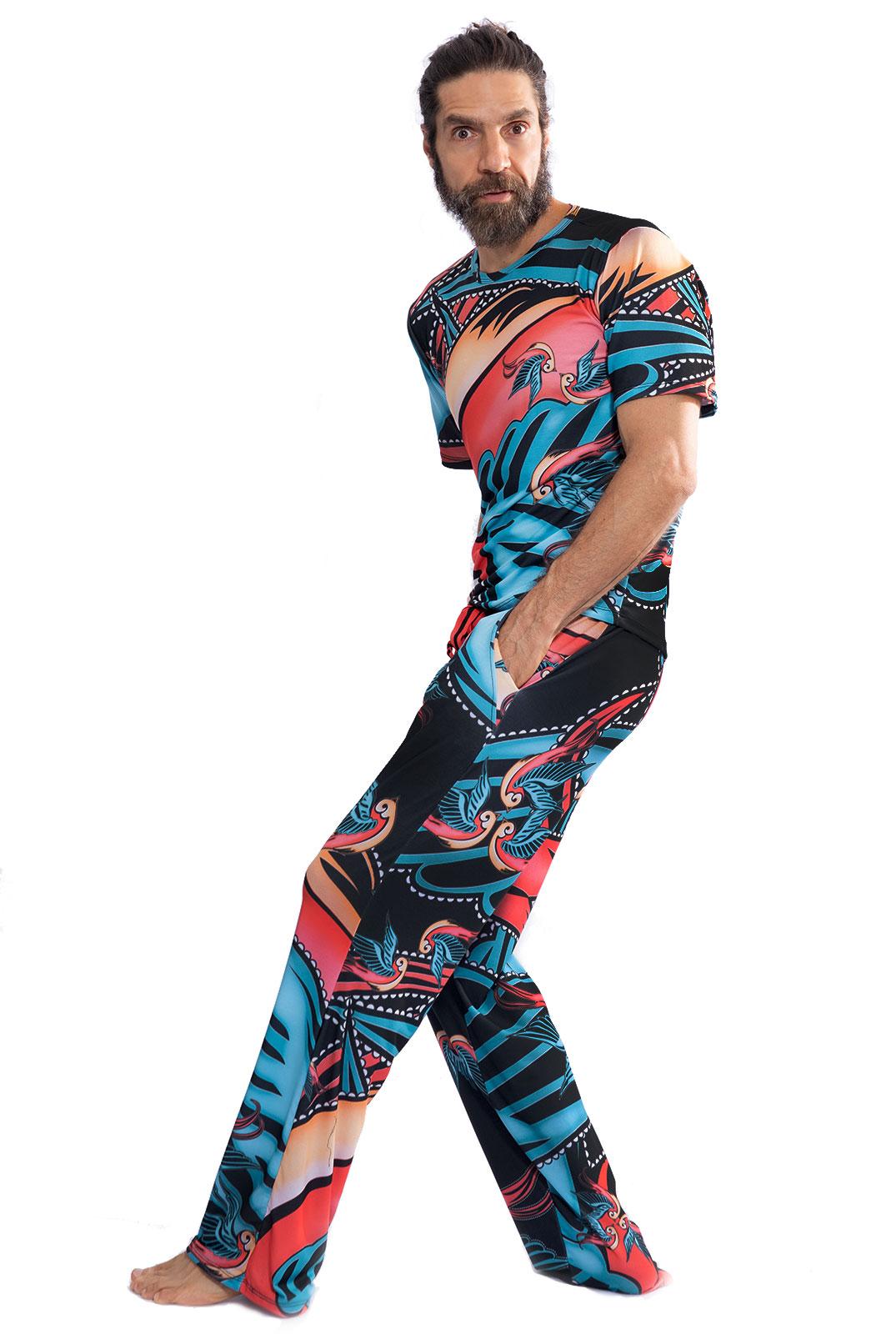 Pijama Longo Thais Gusmão Masculino Andorinha Colorido