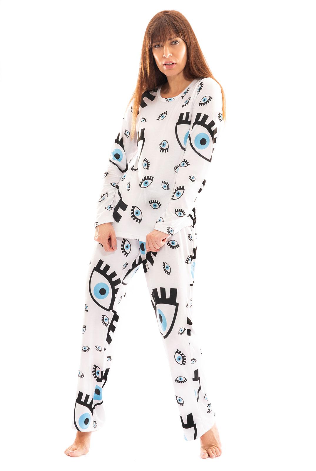 Pijama Longo Thais Gusmão Olho Grego Branco Feminino