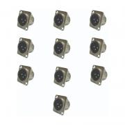 Kit C/ 10 Plugs Xlr Painel Macho Wireconex