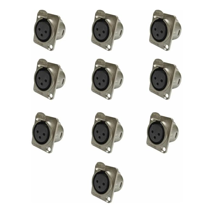 Kit C/ 10 Plugs Xlr Painel Femea Wireconex