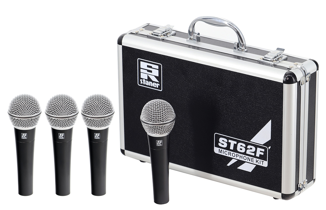 MICROFONE com fio STANER ST-62 KIT MALETA C/4